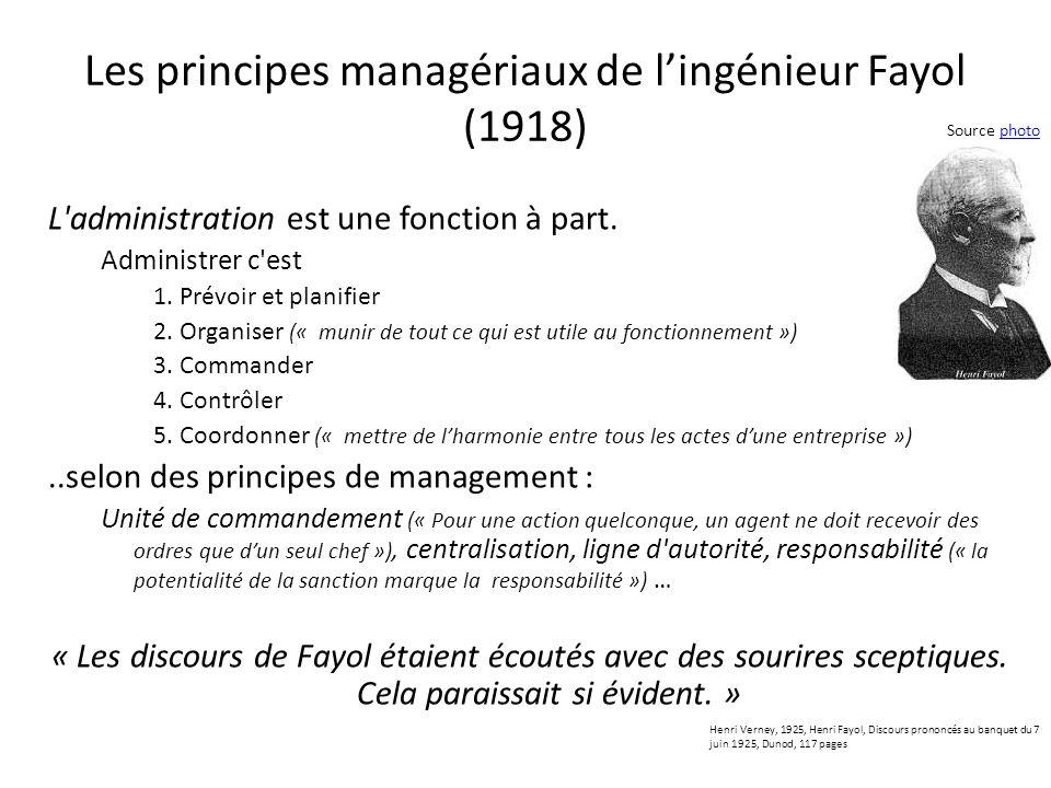 Les principes managériaux de lingénieur Fayol (1918) L'administration est une fonction à part. Administrer c'est 1.Prévoir et planifier 2.Organiser («