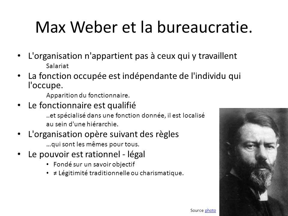 Max Weber et la bureaucratie. L'organisation n'appartient pas à ceux qui y travaillent Salariat La fonction occupée est indépendante de l'individu qui