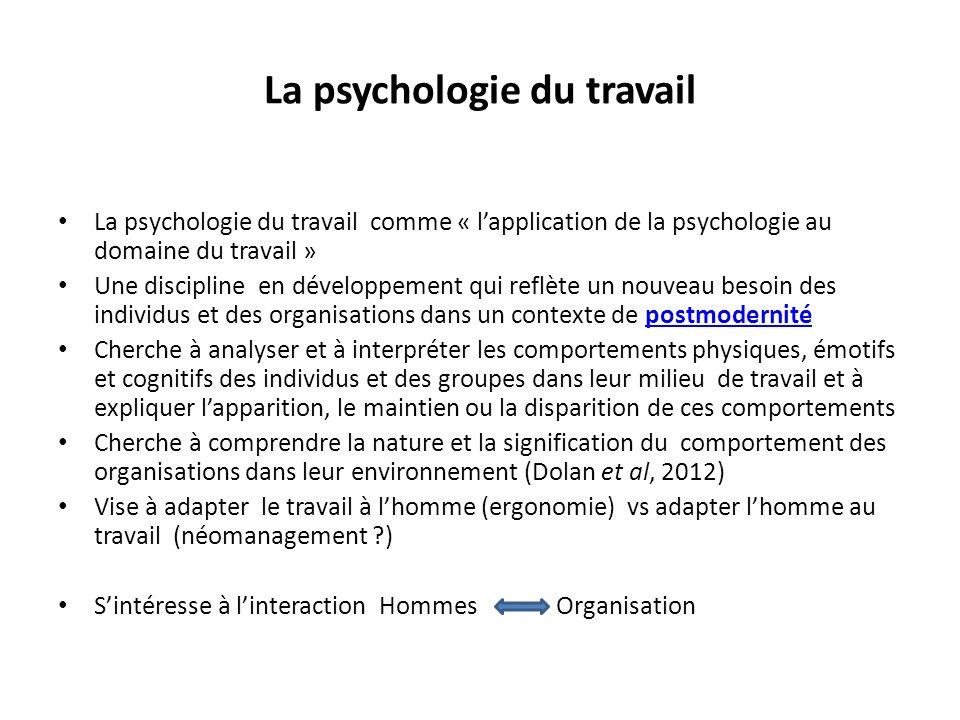 La psychologie du travail comme « lapplication de la psychologie au domaine du travail » Une discipline en développement qui reflète un nouveau besoin