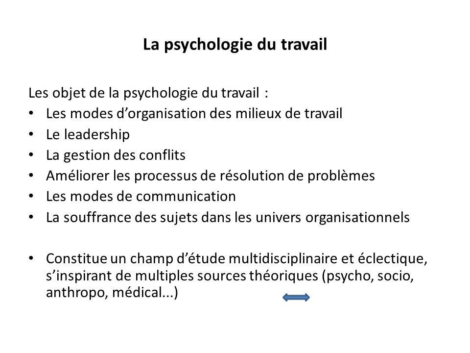 Les objet de la psychologie du travail : Les modes dorganisation des milieux de travail Le leadership La gestion des conflits Améliorer les processus