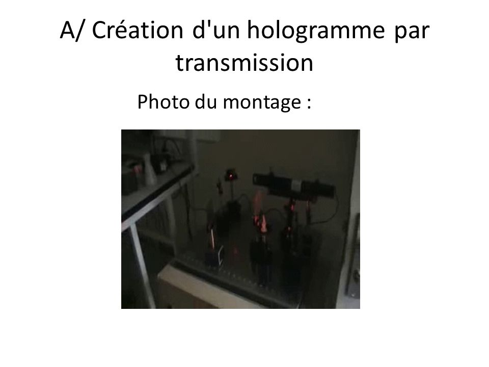 A/ Création d'un hologramme par transmission Photo du montage :