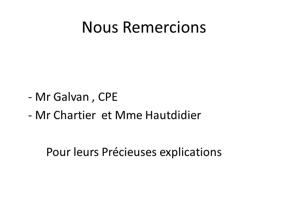 Nous Remercions - Mr Galvan, CPE - Mr Chartier et Mme Hautdidier Pour leurs Précieuses explications