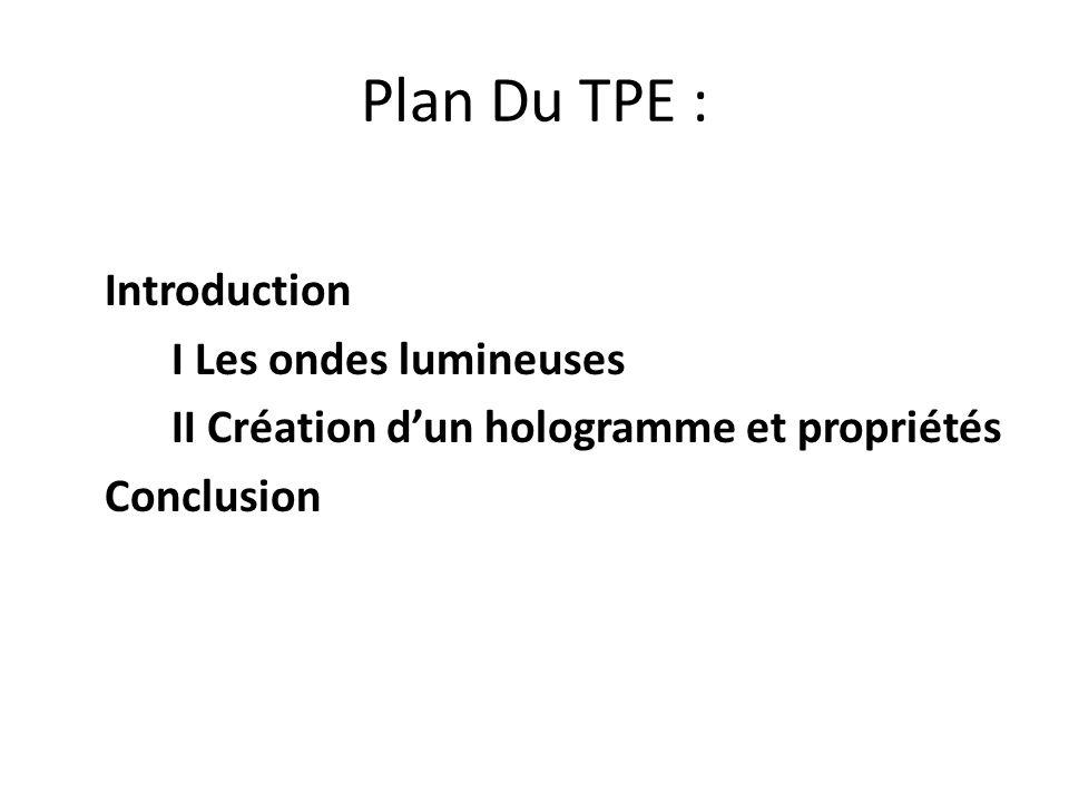 Plan Du TPE : Introduction I Les ondes lumineuses II Création dun hologramme et propriétés Conclusion