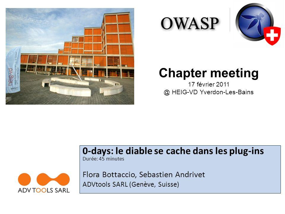 Backdoor téléchargée Le composant na pas vu que ce nétait pas une image 42OWASP Switzerland – Geneva Chapter Meeting @ HEIG-VD (Yverdon-Les-Bains) – Feb.2011