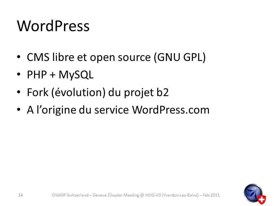 WordPress CMS libre et open source (GNU GPL) PHP + MySQL Fork (évolution) du projet b2 A lorigine du service WordPress.com 14OWASP Switzerland – Genev