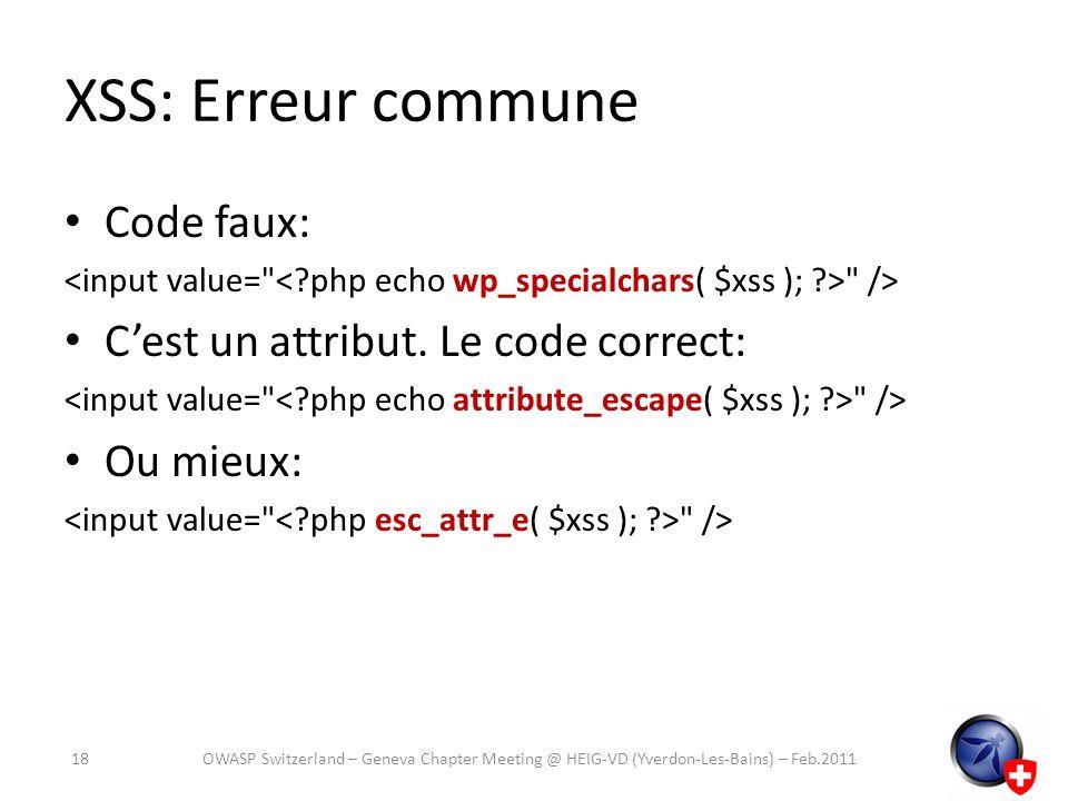 XSS: Erreur commune Code faux: