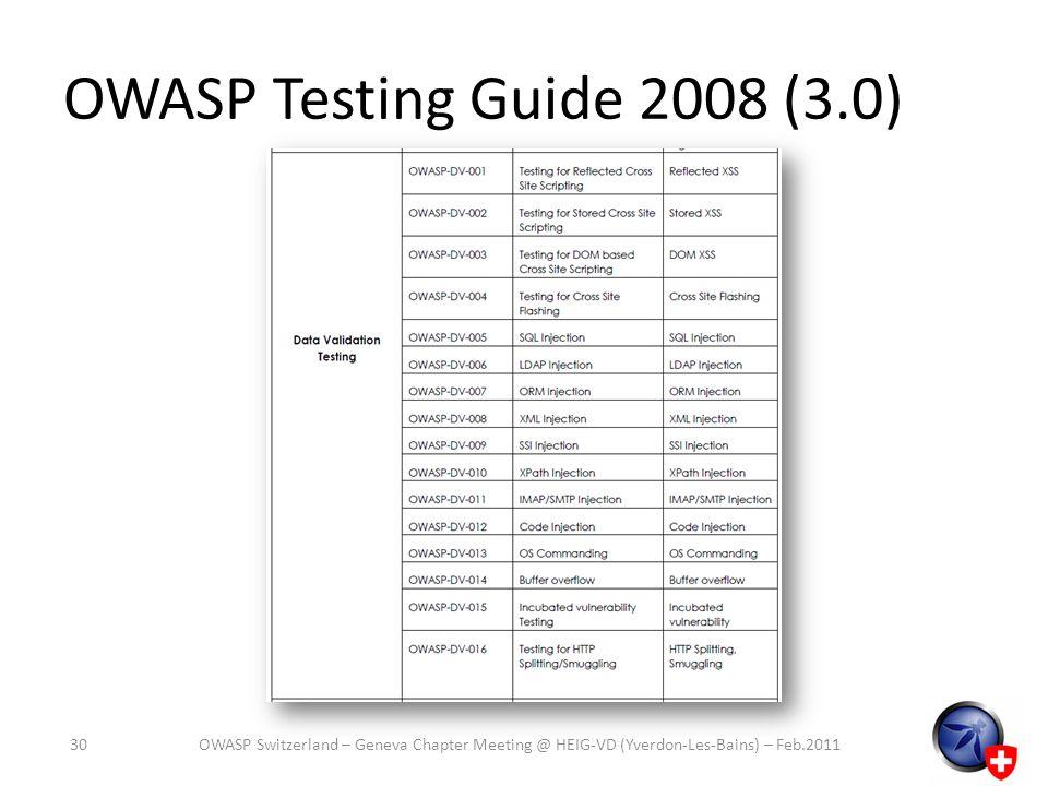 OWASP Testing Guide 2008 (3.0) OWASP Switzerland – Geneva Chapter Meeting @ HEIG-VD (Yverdon-Les-Bains) – Feb.201130