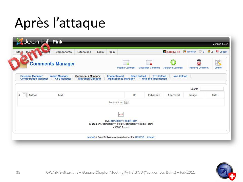 Après lattaque OWASP Switzerland – Geneva Chapter Meeting @ HEIG-VD (Yverdon-Les-Bains) – Feb.201135