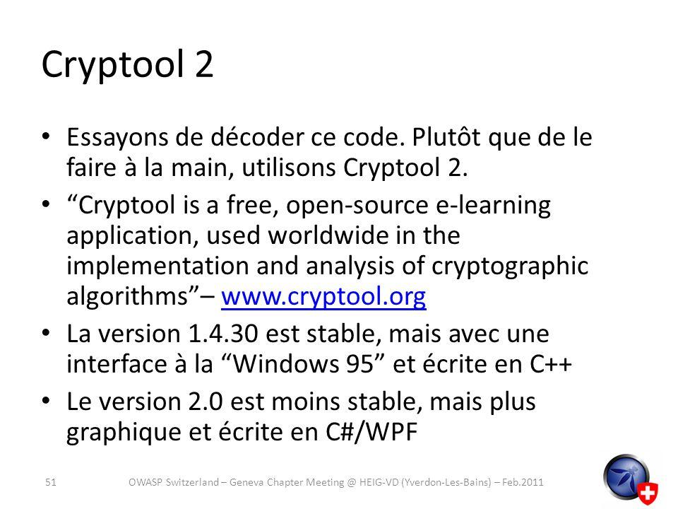 Cryptool 2 Essayons de décoder ce code. Plutôt que de le faire à la main, utilisons Cryptool 2. Cryptool is a free, open-source e-learning application