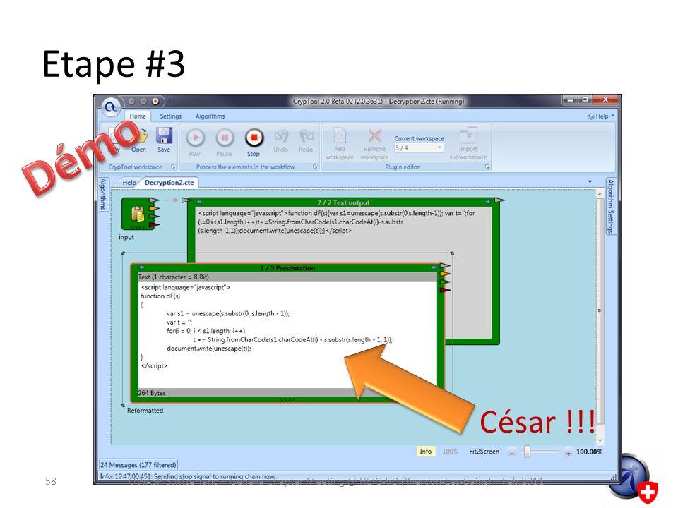 Etape #3 César !!! 58OWASP Switzerland – Geneva Chapter Meeting @ HEIG-VD (Yverdon-Les-Bains) – Feb.2011