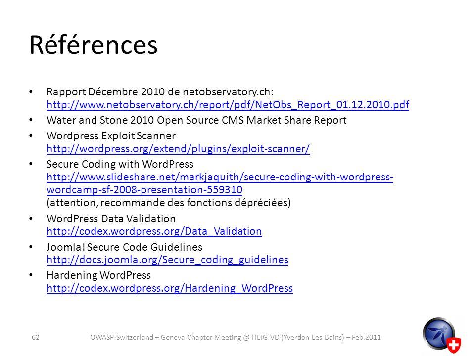Références Rapport Décembre 2010 de netobservatory.ch: http://www.netobservatory.ch/report/pdf/NetObs_Report_01.12.2010.pdf http://www.netobservatory.