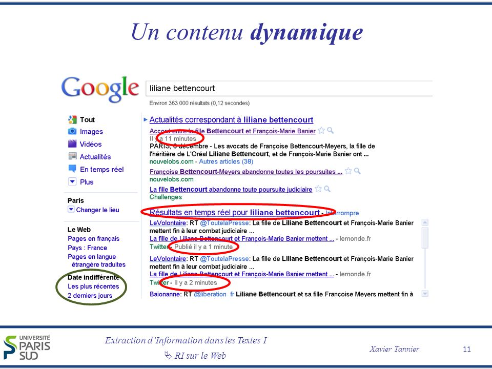 Extraction dInformation dans les Textes I Xavier Tannier RI sur le Web Un contenu dynamique 11