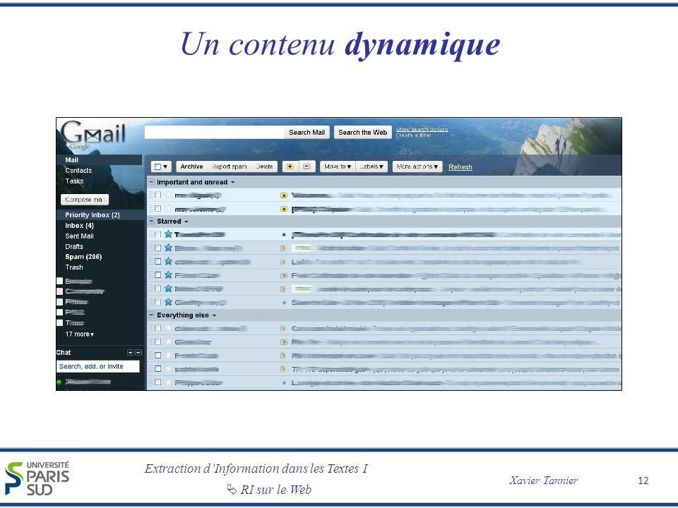 Extraction dInformation dans les Textes I Xavier Tannier RI sur le Web Un contenu dynamique 12