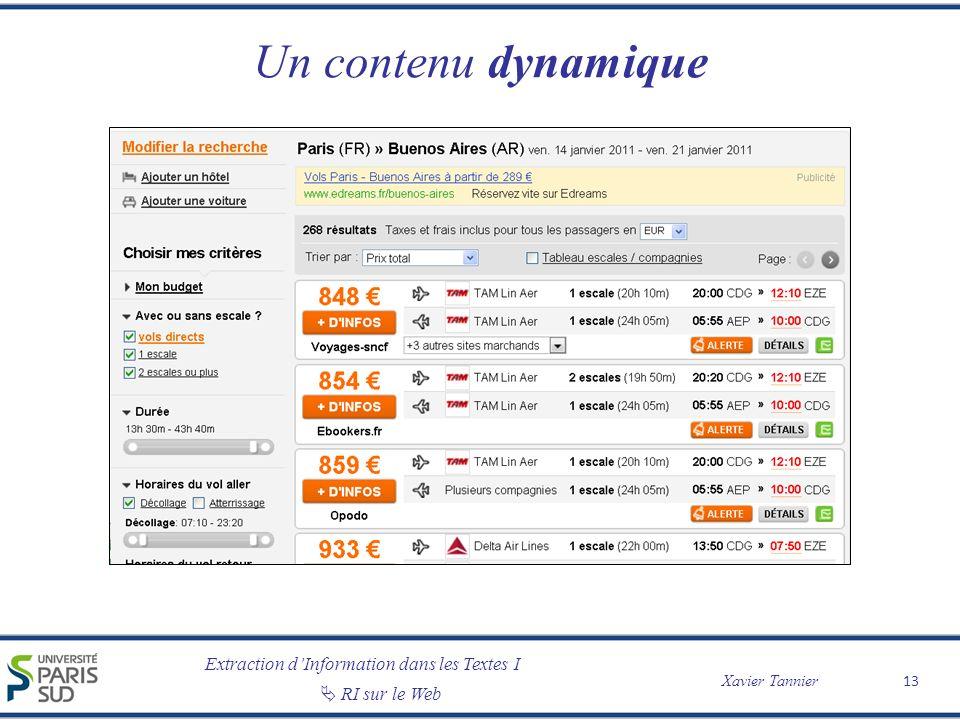 Extraction dInformation dans les Textes I Xavier Tannier RI sur le Web Un contenu dynamique 13