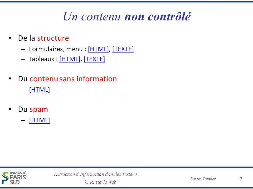 Extraction dInformation dans les Textes I RI sur le Web Xavier Tannier Un contenu non contrôlé De la structure – Formulaires, menu : [HTML], [TEXTE][H