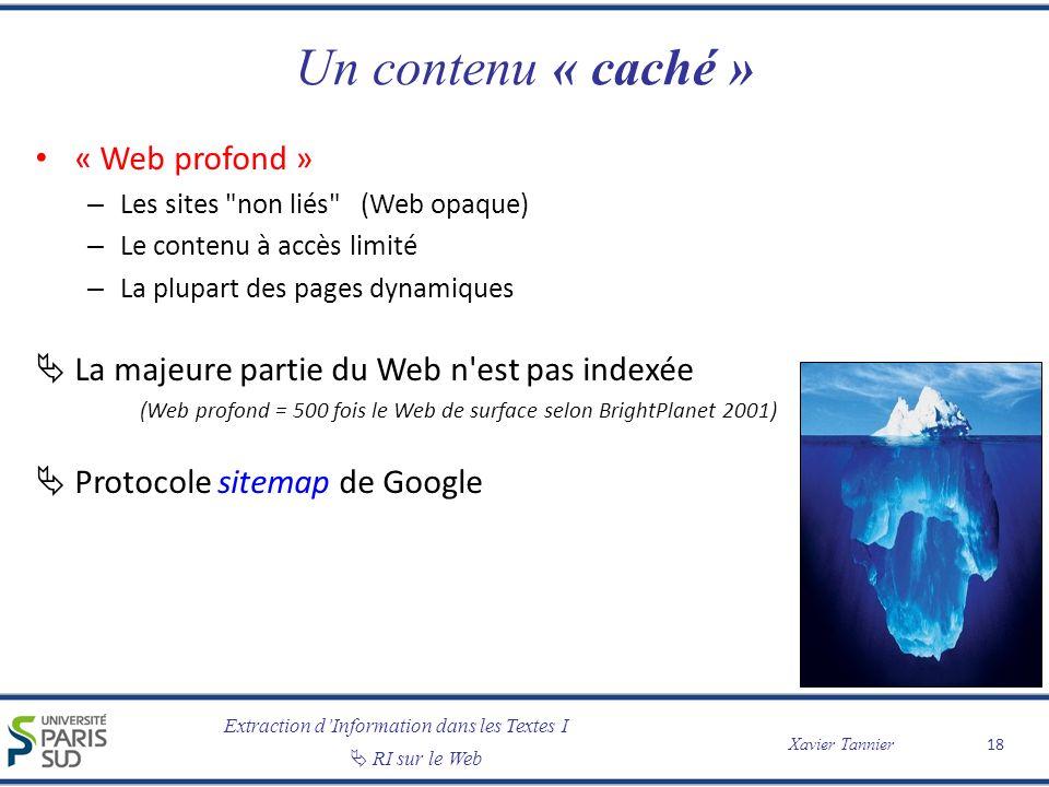 Extraction dInformation dans les Textes I RI sur le Web Xavier Tannier Un contenu « caché » « Web profond » – Les sites