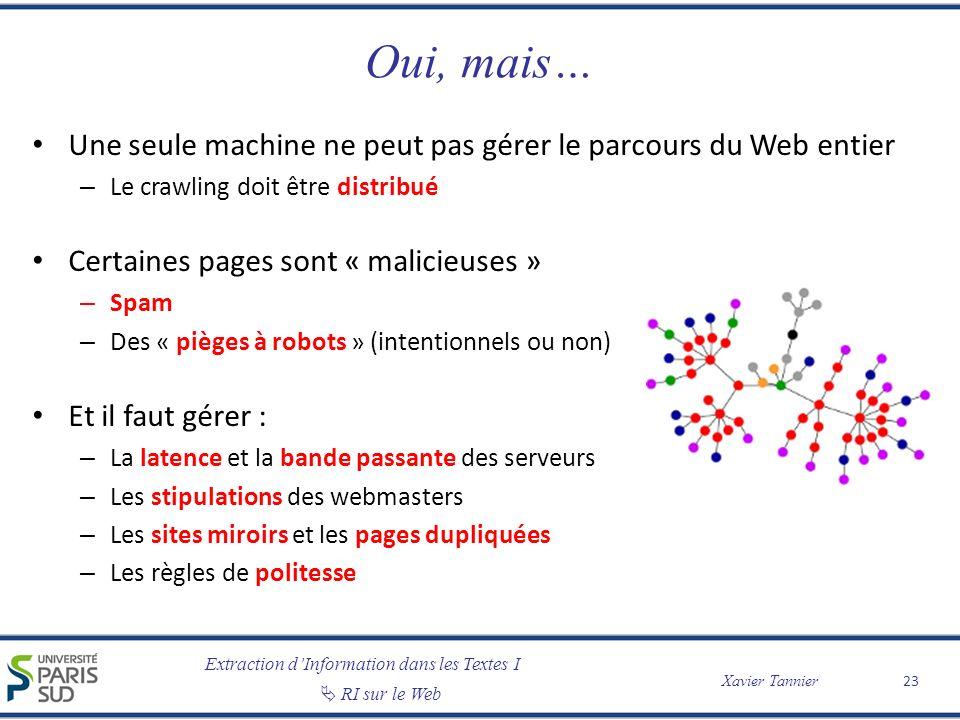 Extraction dInformation dans les Textes I RI sur le Web Xavier Tannier Oui, mais… Une seule machine ne peut pas gérer le parcours du Web entier – Le c