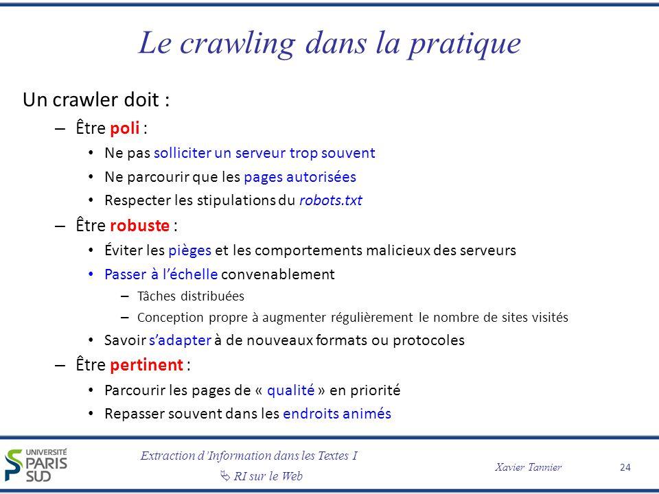 Extraction dInformation dans les Textes I RI sur le Web Xavier Tannier Le crawling dans la pratique Un crawler doit : – Être poli : Ne pas solliciter