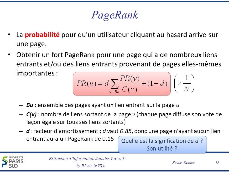 Extraction dInformation dans les Textes I RI sur le Web Xavier Tannier PageRank La probabilité pour qu'un utilisateur cliquant au hasard arrive sur un