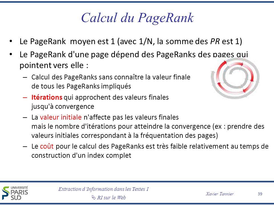 Extraction dInformation dans les Textes I RI sur le Web Xavier Tannier Calcul du PageRank Le PageRank moyen est 1 (avec 1/N, la somme des PR est 1) Le