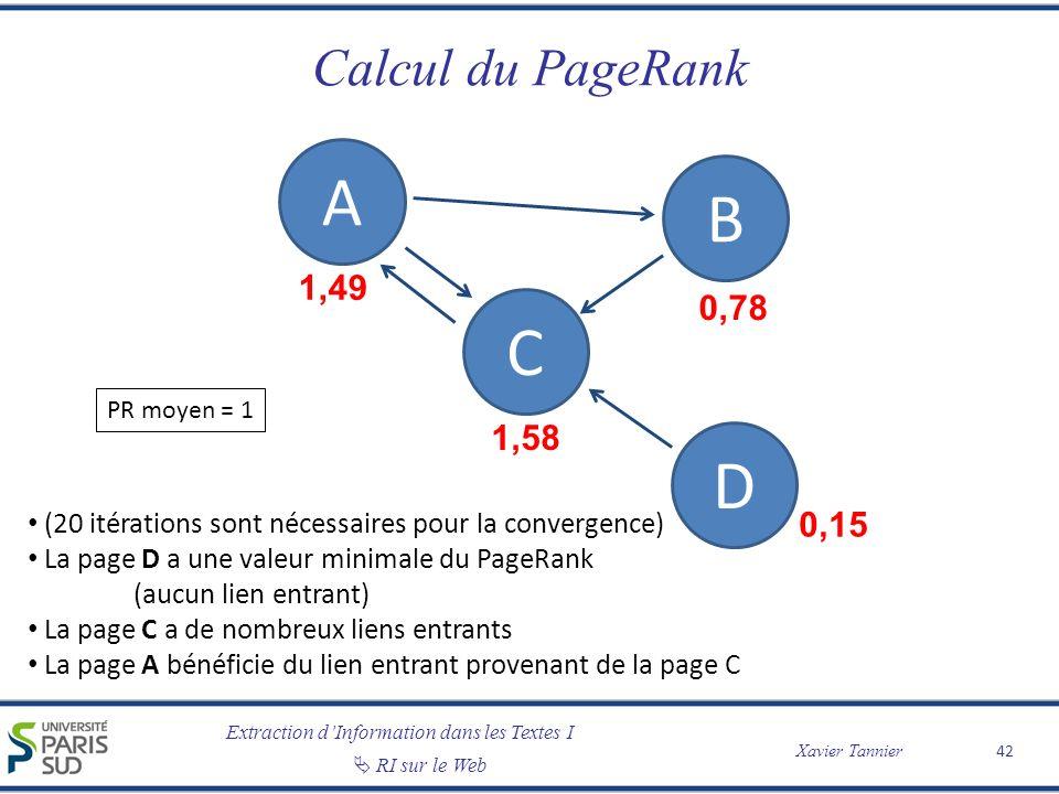 Extraction dInformation dans les Textes I Xavier Tannier RI sur le Web Calcul du PageRank 42 A B C D 1,49 1,58 0,78 0,15 (20 itérations sont nécessair
