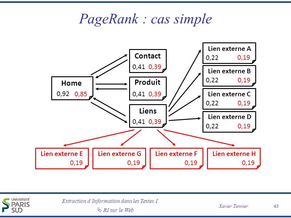 Extraction dInformation dans les Textes I Xavier Tannier RI sur le Web PageRank : cas simple 43 Home 0,92 Contact Produit Liens Lien externe A Lien ex