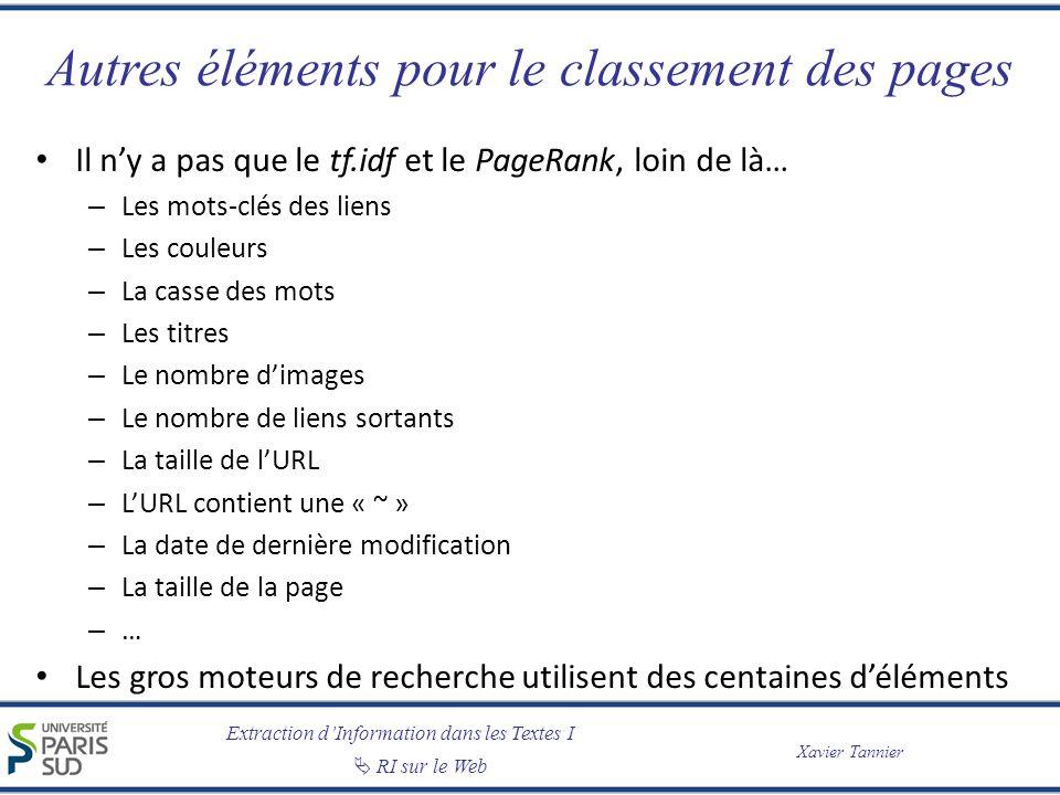 Extraction dInformation dans les Textes I RI sur le Web Xavier Tannier Autres éléments pour le classement des pages Il ny a pas que le tf.idf et le Pa