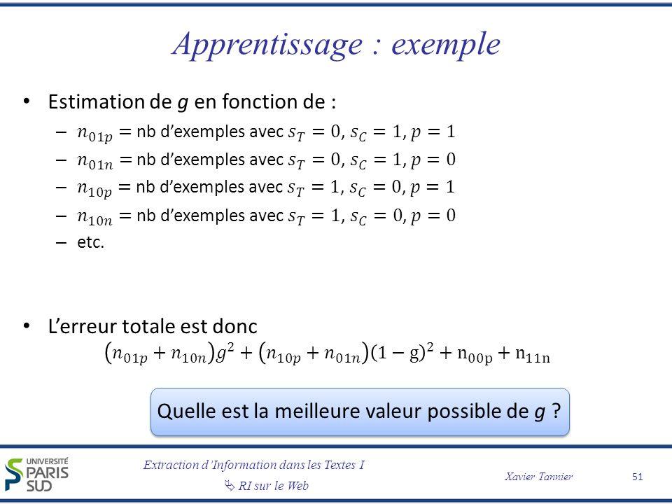 Extraction dInformation dans les Textes I RI sur le Web Xavier Tannier Apprentissage : exemple 51