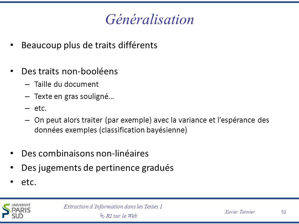 Extraction dInformation dans les Textes I RI sur le Web Xavier Tannier Généralisation Beaucoup plus de traits différents Des traits non-booléens – Tai