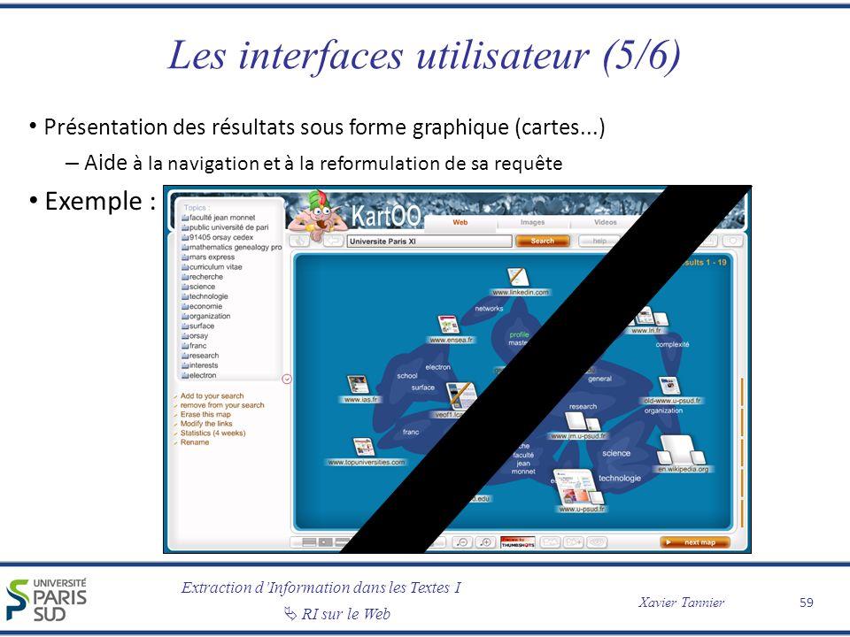 Extraction dInformation dans les Textes I RI sur le Web Xavier Tannier Les interfaces utilisateur (5/6) Pr ésentation des résultats sous forme graphiq
