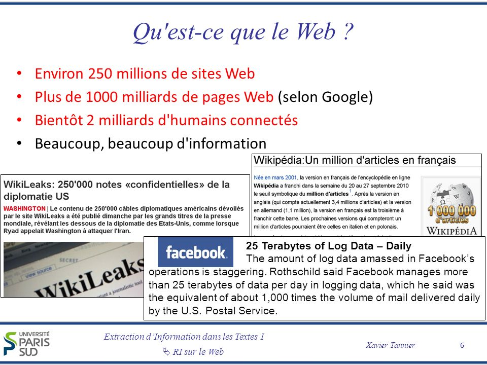 Extraction dInformation dans les Textes I RI sur le Web Xavier Tannier Environ 250 millions de sites Web Plus de 1000 milliards de pages Web (selon Go