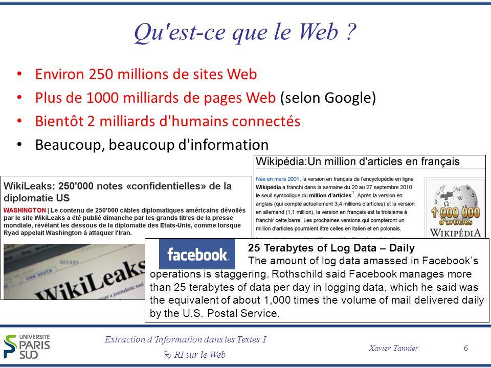 Extraction dInformation dans les Textes I RI sur le Web Xavier Tannier Du contenu (un peu) structuré Des métadonnées 7 Xavier Tannier, page personnelle (home page) …