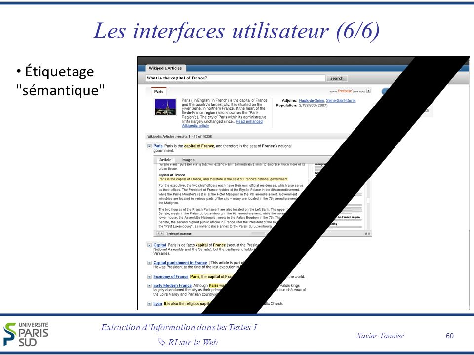 Extraction dInformation dans les Textes I RI sur le Web Xavier Tannier Les interfaces utilisateur (6/6) Étiquetage