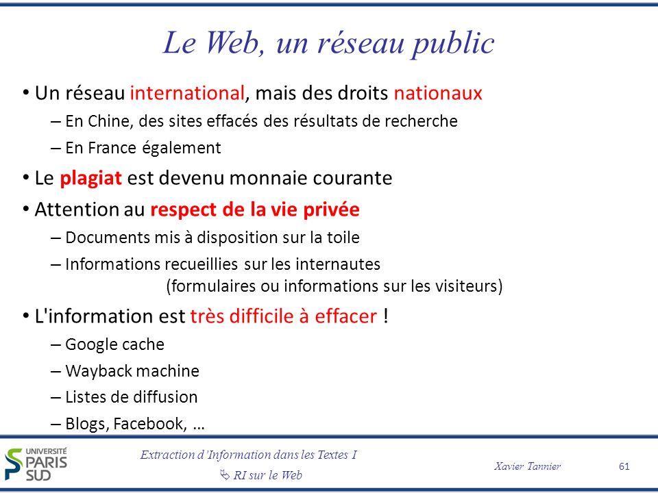 Extraction dInformation dans les Textes I RI sur le Web Xavier Tannier Le Web, un réseau public Un réseau international, mais des droits nationaux – E