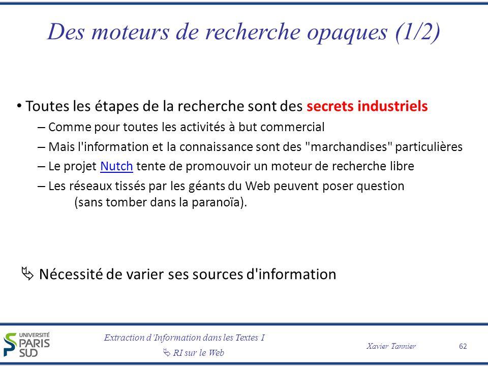 Extraction dInformation dans les Textes I RI sur le Web Xavier Tannier Des moteurs de recherche opaques (1/2) Toutes les étapes de la recherche sont d