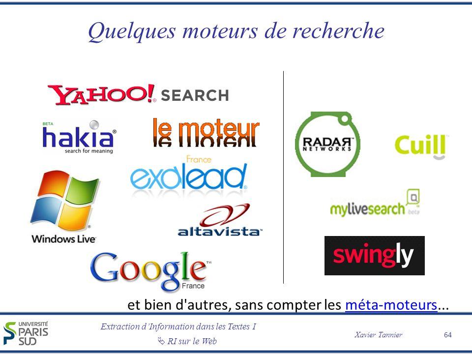 Extraction dInformation dans les Textes I Xavier Tannier RI sur le Web Quelques moteurs de recherche 64 et bien d'autres, sans compter les méta-moteur
