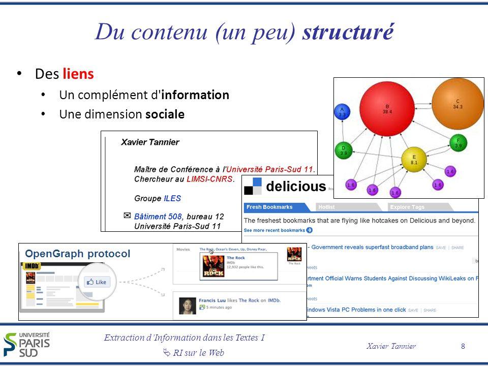 Extraction dInformation dans les Textes I RI sur le Web Xavier Tannier Des besoins dutilisateurs différents Besoins dinformation – Accès à la connaissance sur un sujet – « Chevaliers paysans de l an mil au lac de Paladru » – Entre 40 et 65 % des requêtes Besoins de navigation – Recherche dune page précise – « Facebook », « Le Monde » – Entre 15 et 25 % Besoins de transaction – Recherche dun service opéré sur le Web – « billets SNCF », « Canon EOS 550 D », « météo Argentine » – Entre 20 et 35 % Les frontières ne sont pas toujours claires… 19