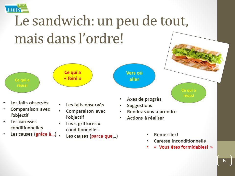 Le sandwich: un peu de tout, mais dans lordre! 6 Les faits observés Comparaison avec lobjectif Les caresses conditionnelles Les causes (grâce à…) Axes