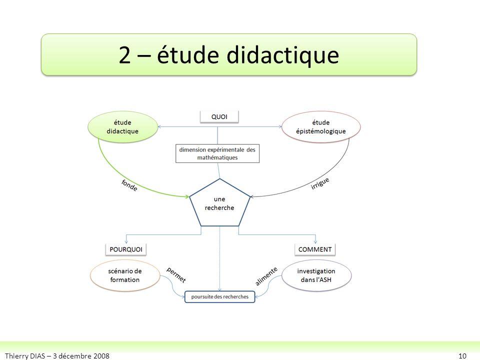 Thierry DIAS – 3 décembre 200810 2 – étude didactique