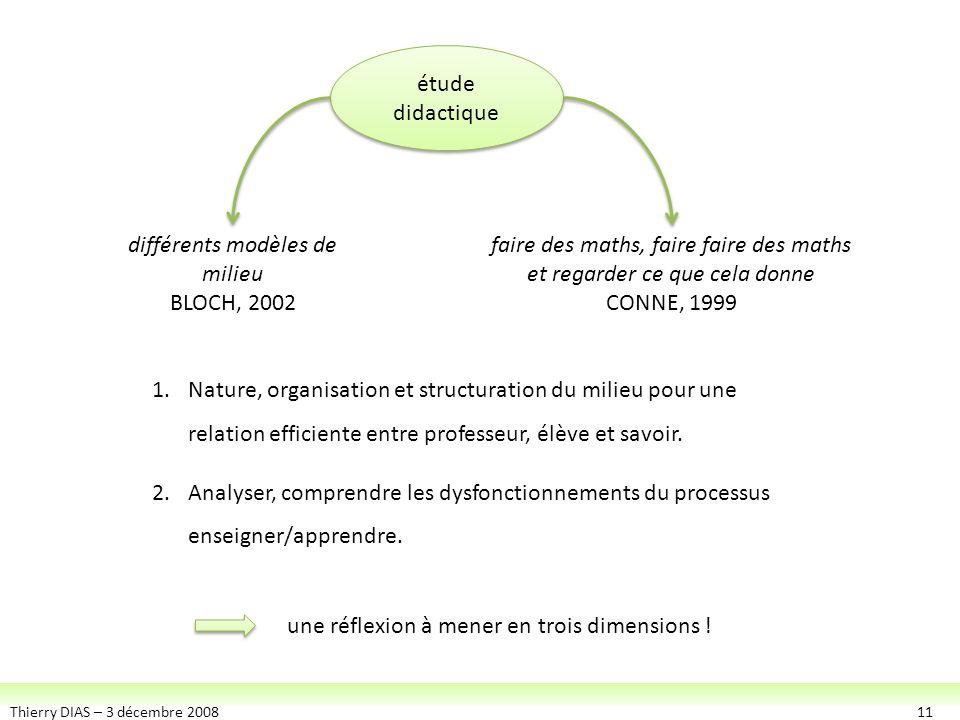 Thierry DIAS – 3 décembre 200811 étude didactique étude didactique différents modèles de milieu BLOCH, 2002 faire des maths, faire faire des maths et