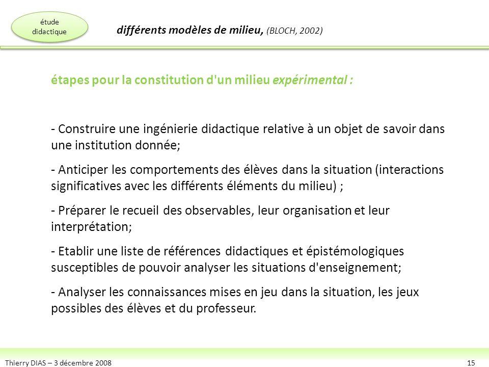 Thierry DIAS – 3 décembre 200815 étapes pour la constitution d'un milieu expérimental : - Construire une ingénierie didactique relative à un objet de
