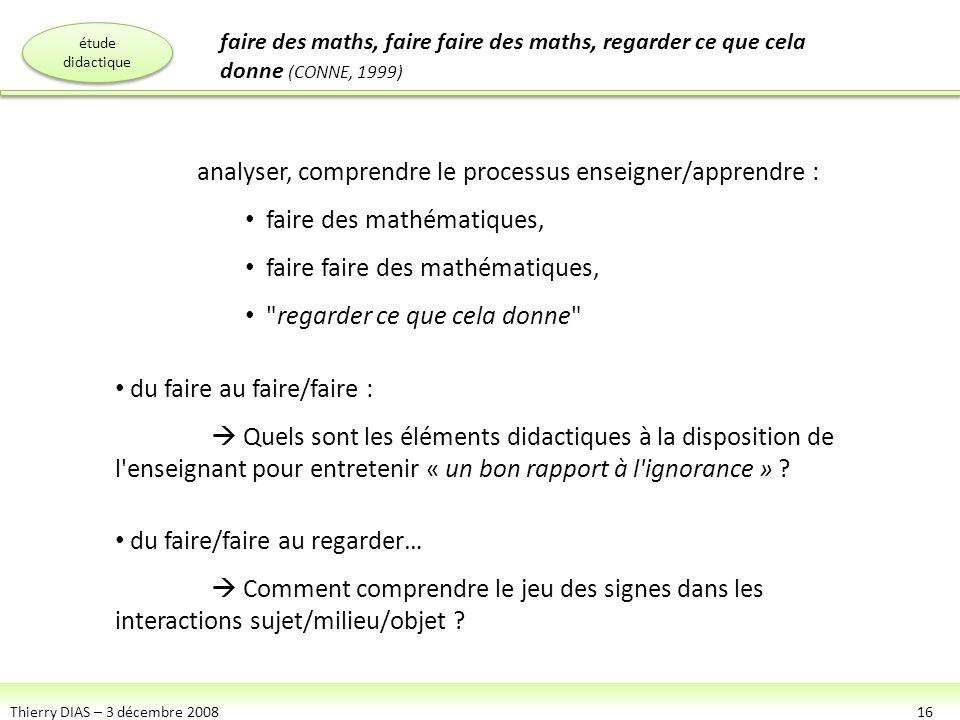 Thierry DIAS – 3 décembre 200816 analyser, comprendre le processus enseigner/apprendre : faire des mathématiques, faire faire des mathématiques,