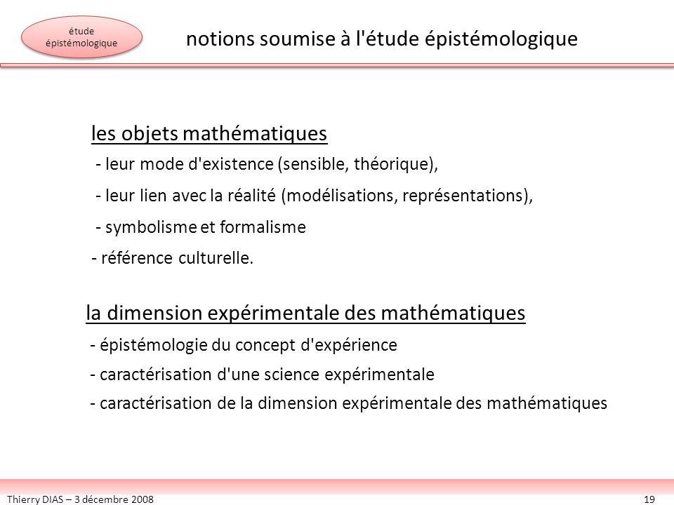 Thierry DIAS – 3 décembre 200819 les objets mathématiques - leur mode d'existence (sensible, théorique), - leur lien avec la réalité (modélisations, r