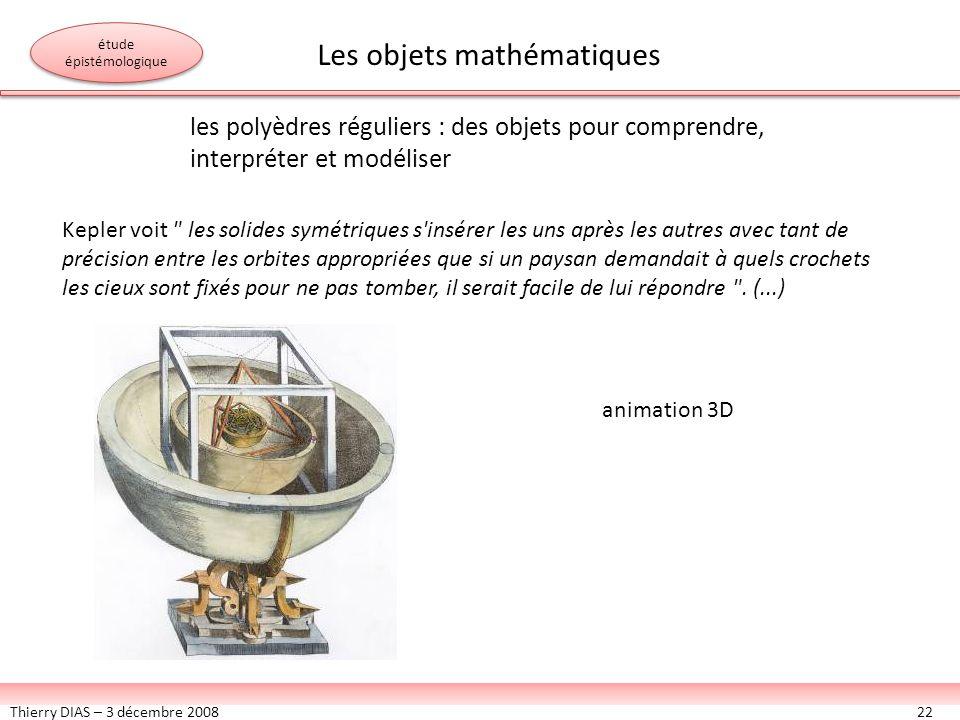 Thierry DIAS – 3 décembre 200822 les polyèdres réguliers : des objets pour comprendre, interpréter et modéliser Kepler voit