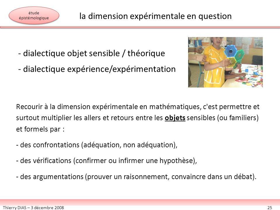 Thierry DIAS – 3 décembre 200825 - dialectique objet sensible / théorique - dialectique expérience/expérimentation Recourir à la dimension expérimenta
