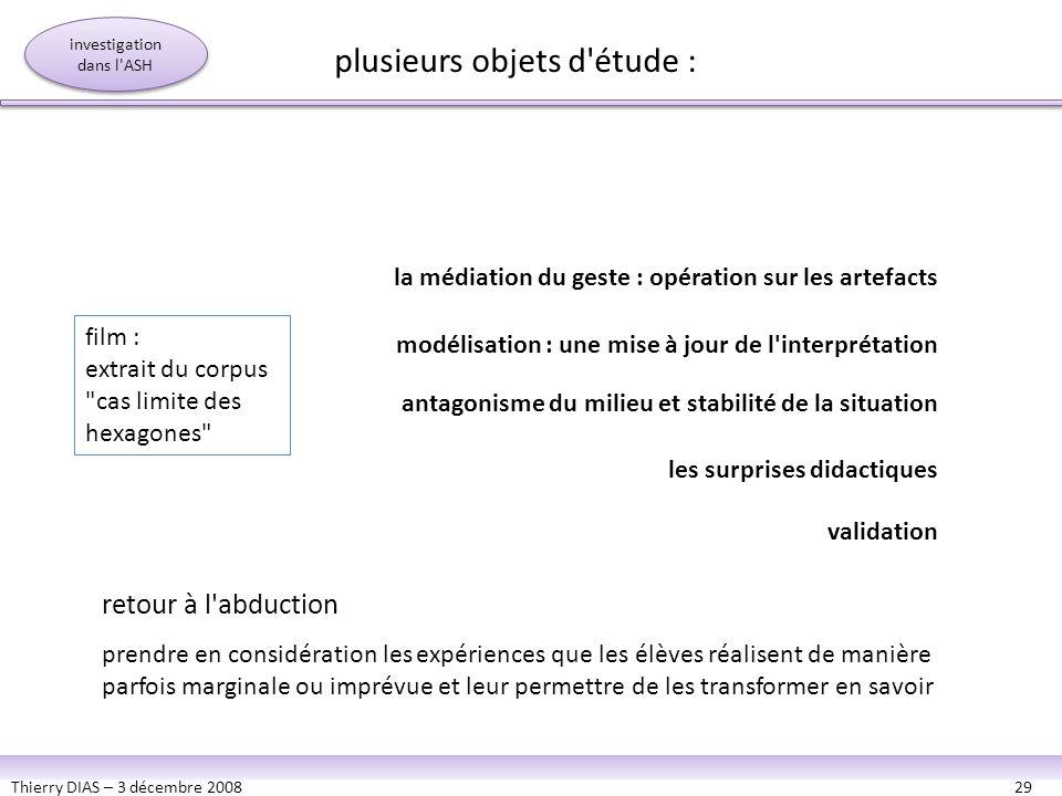 Thierry DIAS – 3 décembre 200829 la médiation du geste : opération sur les artefacts modélisation : une mise à jour de l'interprétation antagonisme du