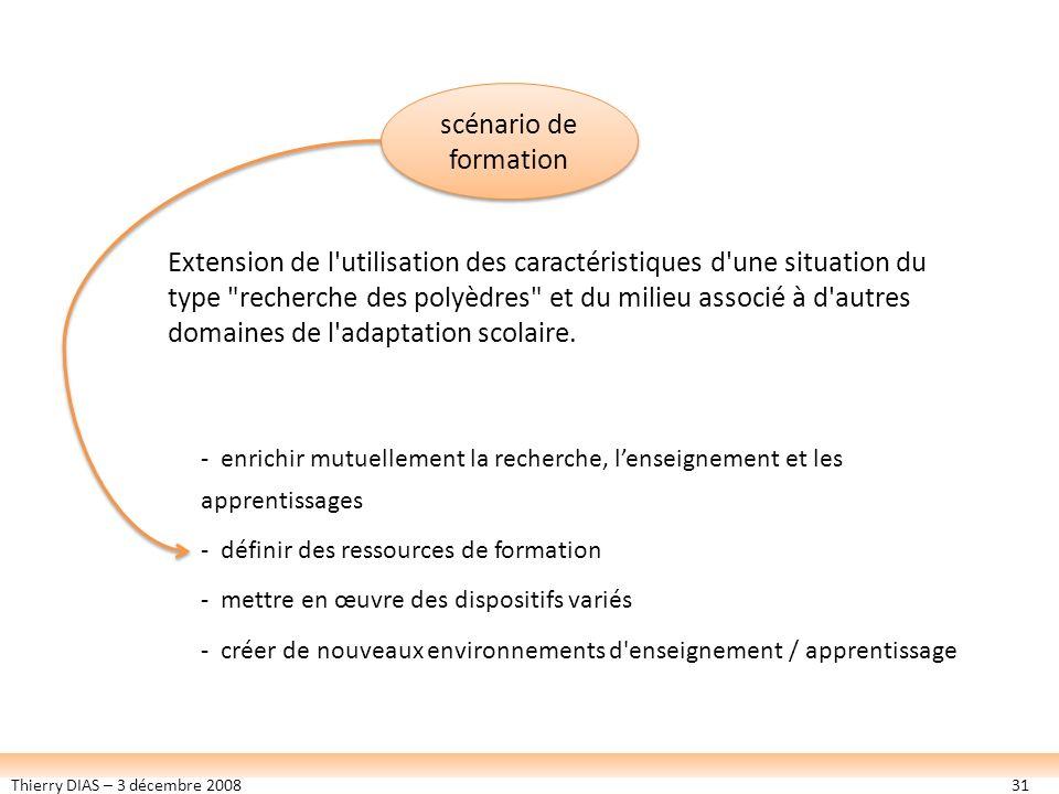 Thierry DIAS – 3 décembre 200831 scénario de formation - enrichir mutuellement la recherche, lenseignement et les apprentissages - définir des ressour