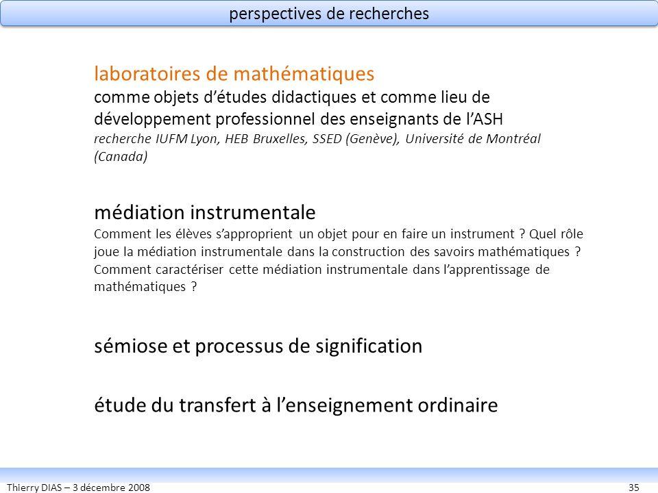 Thierry DIAS – 3 décembre 200835 perspectives de recherches médiation instrumentale Comment les élèves sapproprient un objet pour en faire un instrume