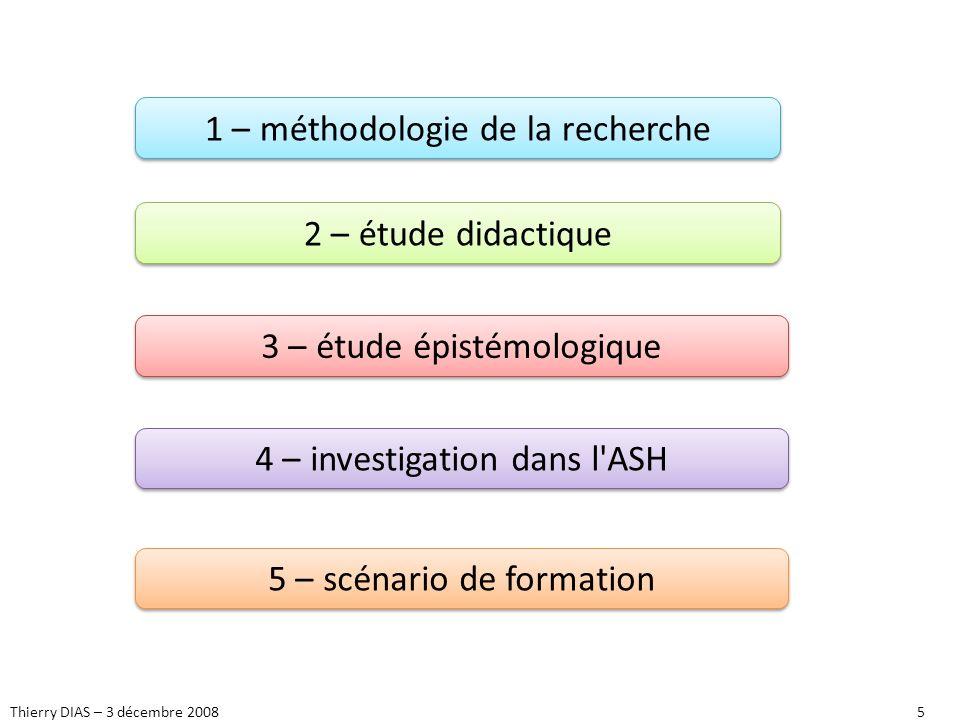 Thierry DIAS – 3 décembre 20085 1 – méthodologie de la recherche 2 – étude didactique 3 – étude épistémologique 4 – investigation dans l'ASH 5 – scéna